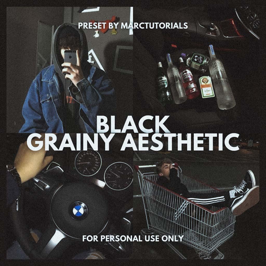 BLACK GRAINY AESTHETIC PRESET- Lightroom Preset