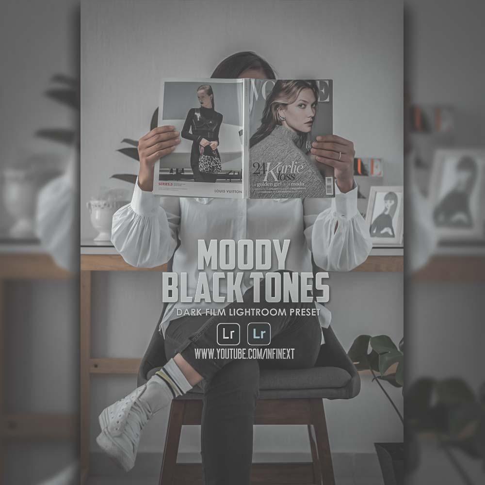 Moody Black Tones - Dark film preset Lightroom Preset